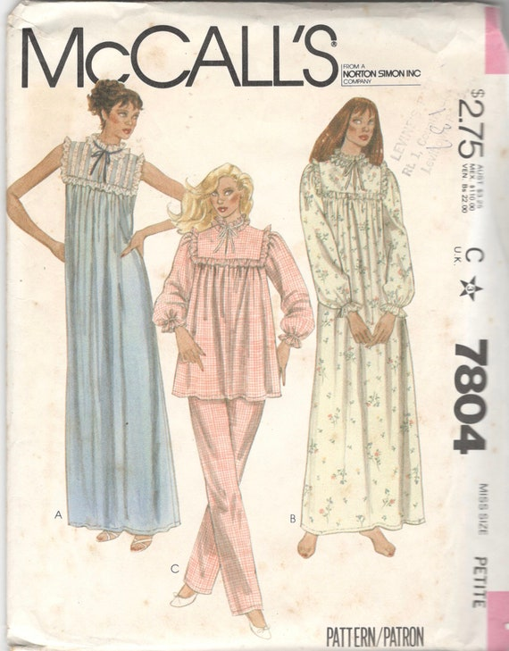 McCalls 7804 1980s Misses Nightgown and Pajamas Pattern Granny | Etsy