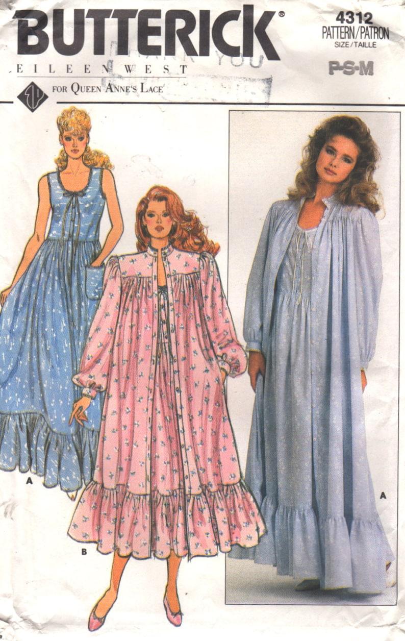 31e4da0609 Butterick 4312 1980s Misses EILEEN WEST Nightgown Robe Pattern