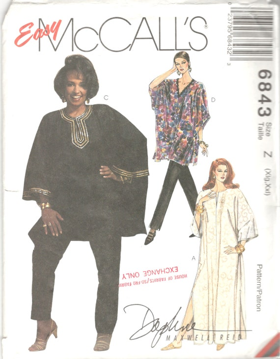 McCalls 6843 Misses Pullover Caftan Tunic Top Tapered Pants | Etsy