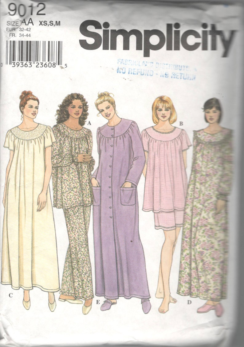 db05455a67 Simplicity 9012 Misses Robe Nightgown and Pajamas Pattern