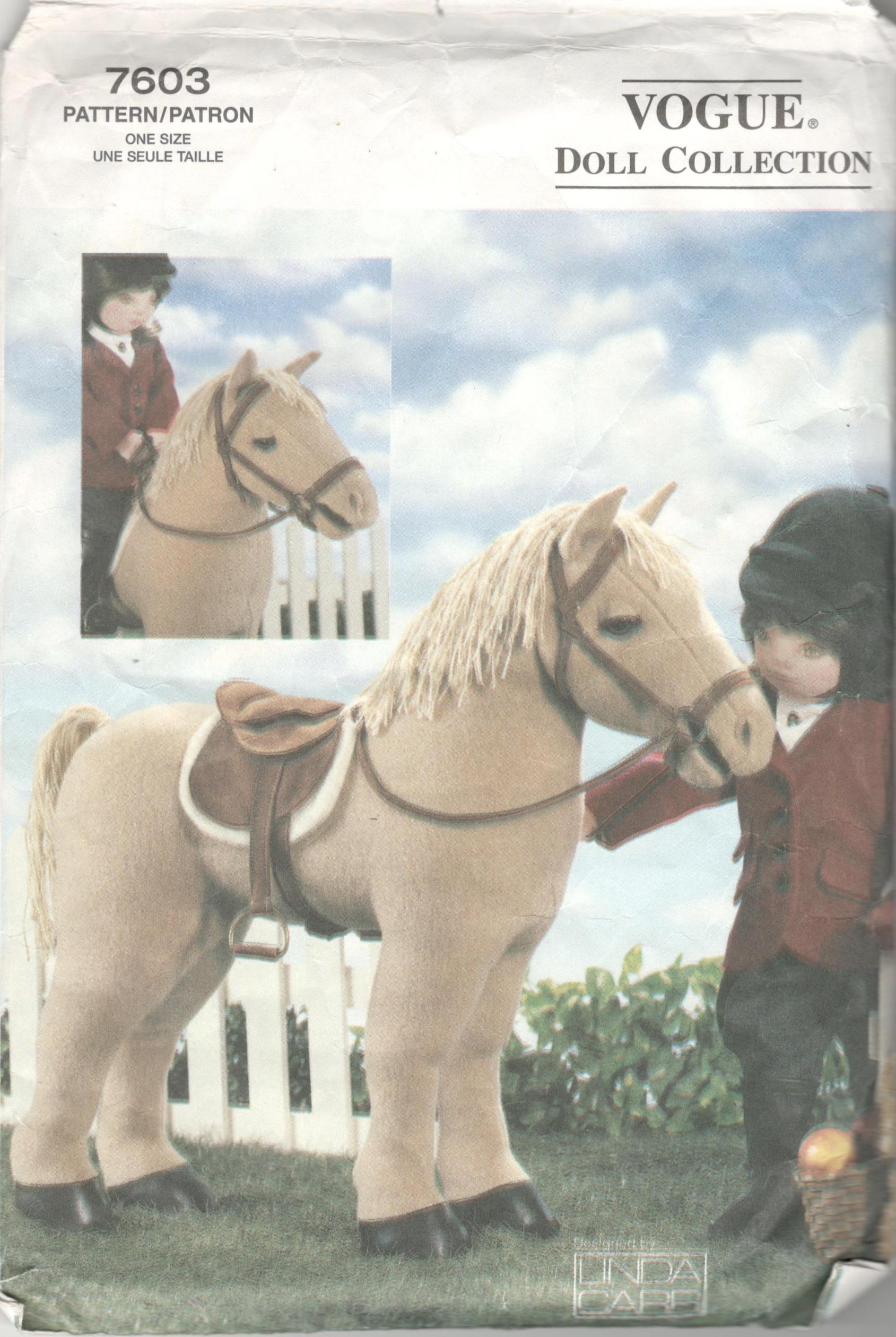 Vogue 7603 P908 P616 Pferd Muster für 18-Zoll-Puppe Sattel