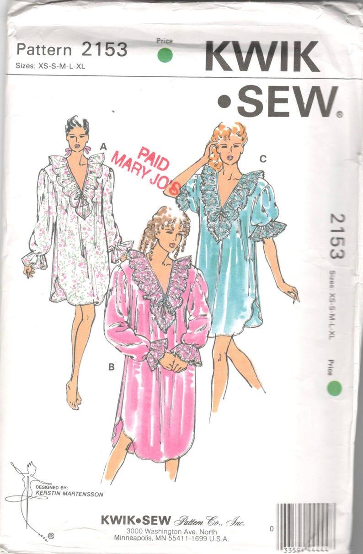 66713ba54f Kwik Sew 2153 Misses Victorian Style Nightgown Pattern V Neck
