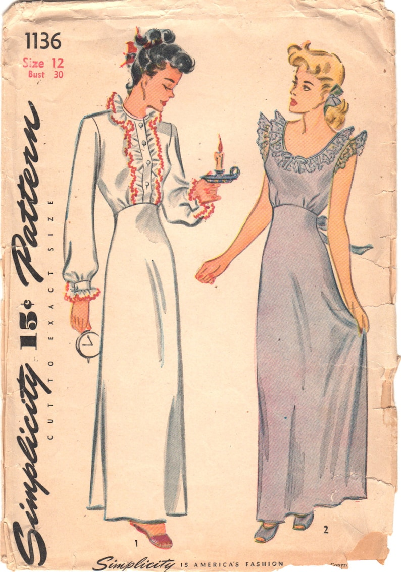 a057b406b41 Simplicity 1136 1940s Ladies Lingerie Pattern Misses Nightgown Negligee  Pattern Womens Vintage Sewing Pattern Size 12 Bust 30