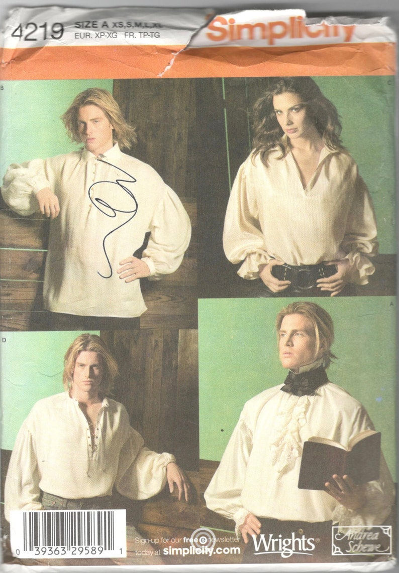 Simplicity 4219 Mens Womens HISTORICAL Costume SHIRT Pattern Fabio Pastor  Poet Unisex Designer Sewing Pattern Size xs s m l xl Chest 30 - 48