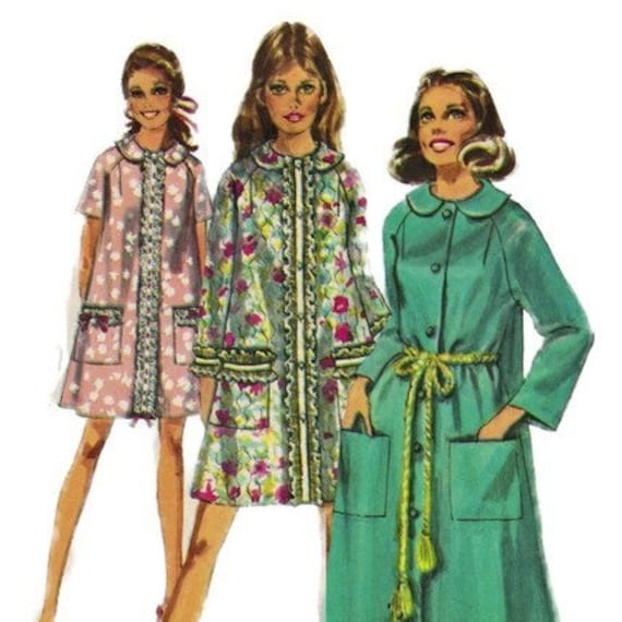 51ff28a77e Simplicity 8458 1960s Misses Robe Pattern Womens Vintage