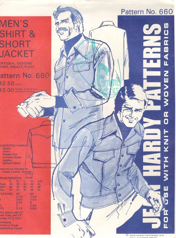 Jean Hardy 660 1970er Jahre Herren Shirt kurze Jacke Muster | Etsy