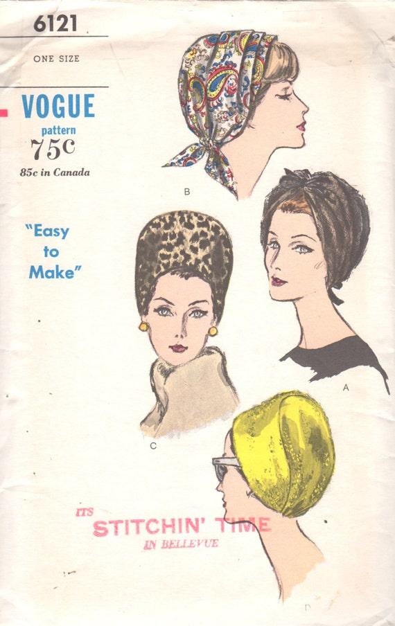 Vogue 6121 1960s falta sombreros fácil patrón 3 estilos Cap | Etsy