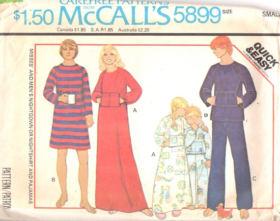 McCalls 5899 1970s Mens Misses Nightshirt Nightgown and 1b34b3cfc