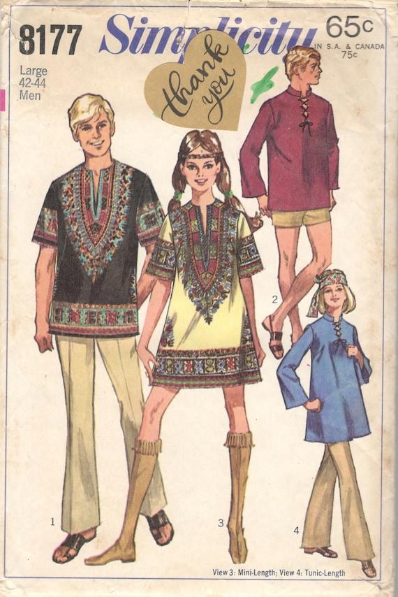 Einfachheit 8177 1960s Herren DASHIKI Hemd Muster Shirt Adult | Etsy