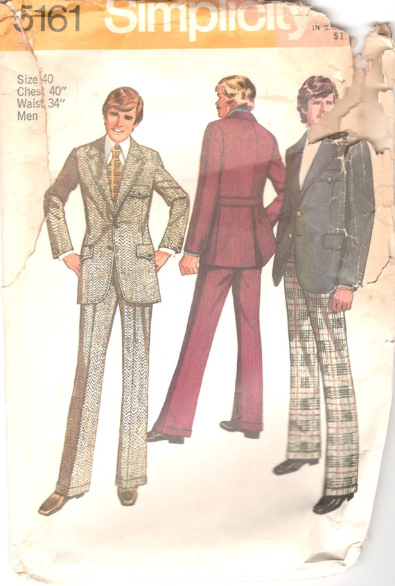 Simplicity 5161 1970s Mens Suit Pattern Cuff Pants and Jacket | Etsy