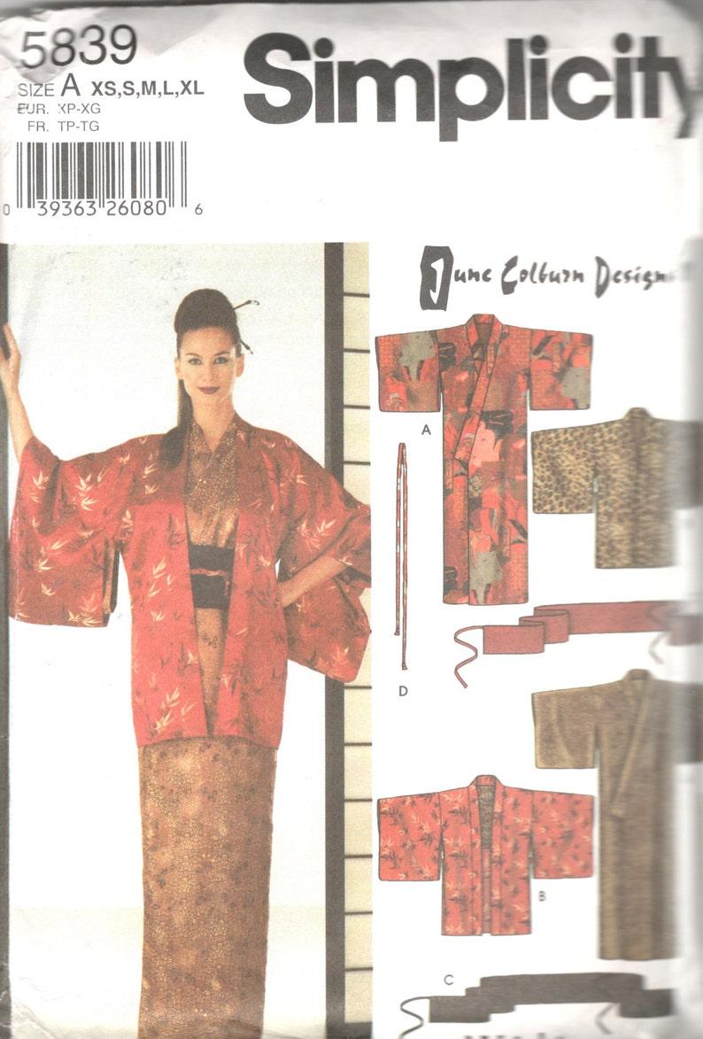 Simplicity 5839 Misses Japanese Kimono Haori Obi Sash Pattern  5b0bf0c65
