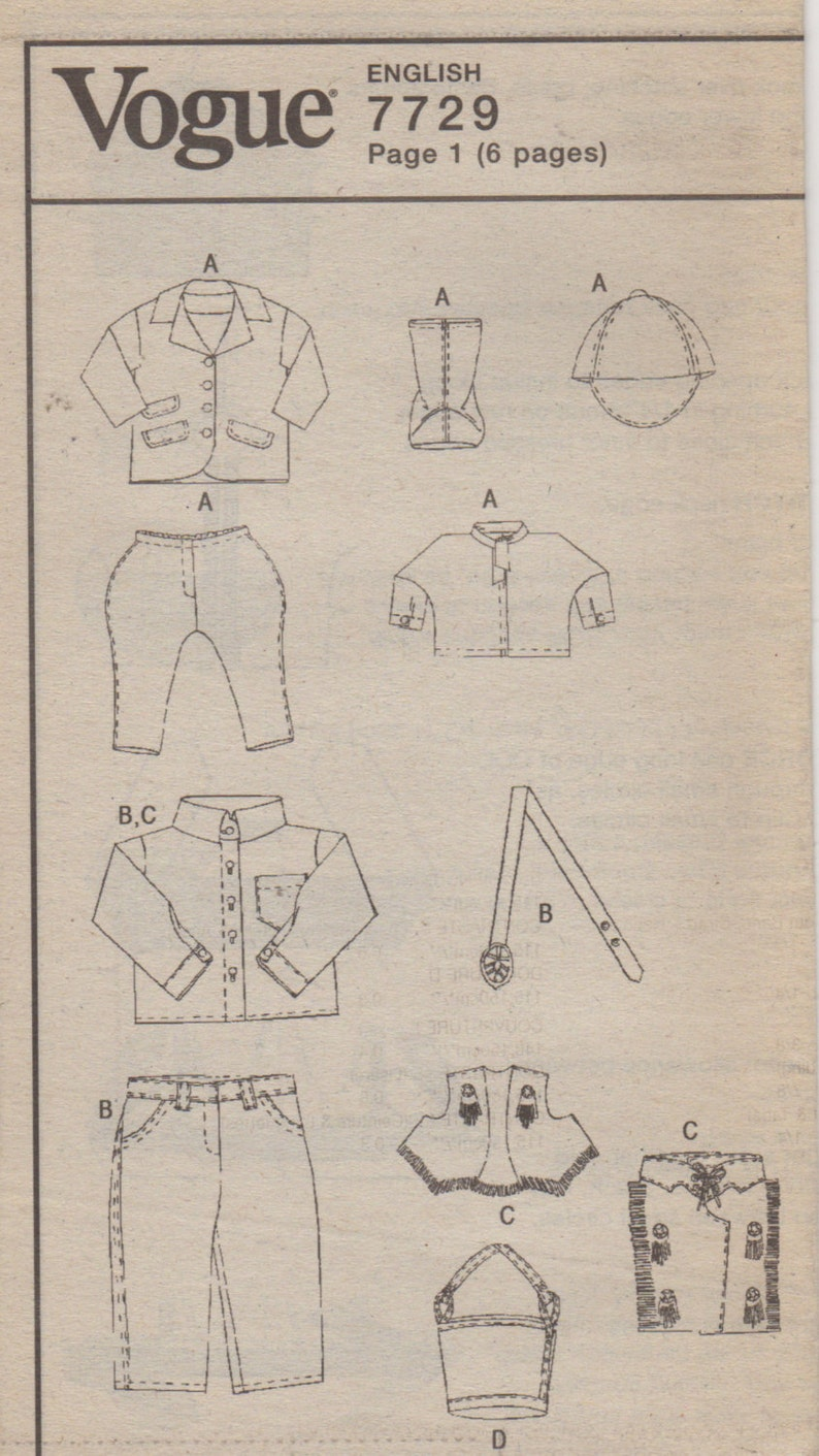 Vogue 7729 18 Inch Western Wear Doll Clothes Pattern Linda Carr  Designer Equestrian Sewing Pattern