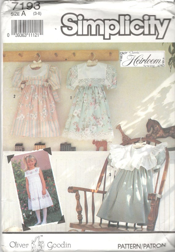 1990s Simplicity 7193 Childs Oliver Goodin Heirloom Dress | Etsy