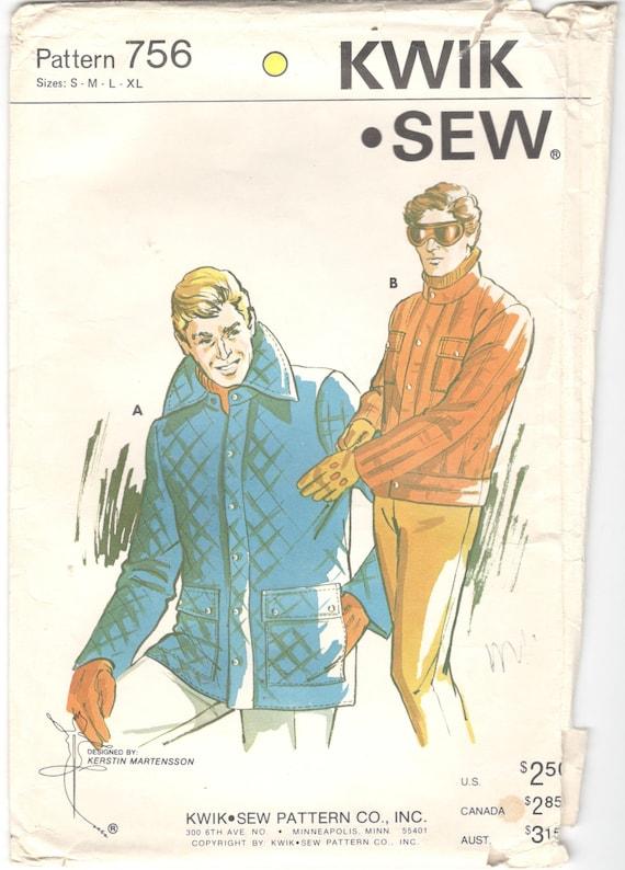 Kwik Sew 756 1970s Mens Quilted JACKET Pattern Zip Snap Front