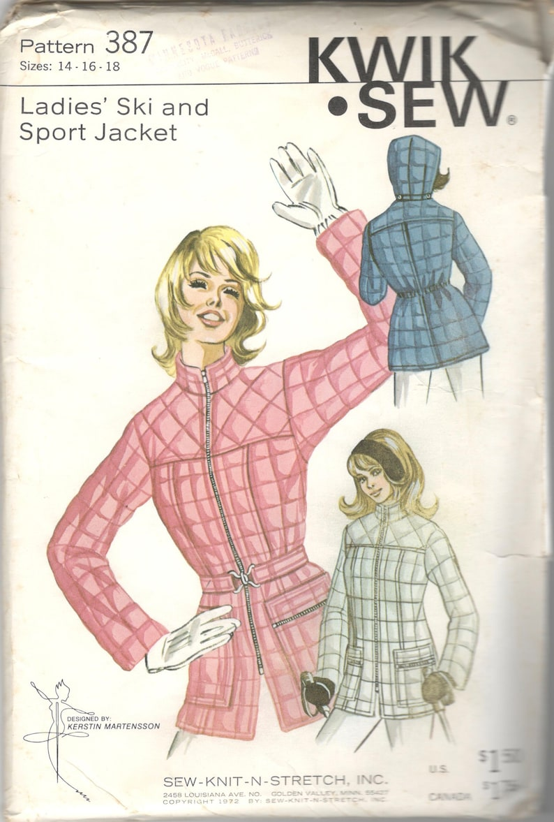 2d16d70d95 Kwik Sew 387 1970s Misses Quilted Ski and Sport Jacket Pattern Hood Option  Wome... Kwik Sew 387 1970s Misses Quilted Ski and Sport Jacket Pattern Hood  ...