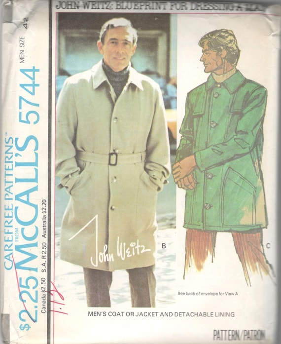 McCalls 40 40s Mens Coat Pattern Overcoat Jacket Pattern Etsy Best Mens Trench Coat Pattern