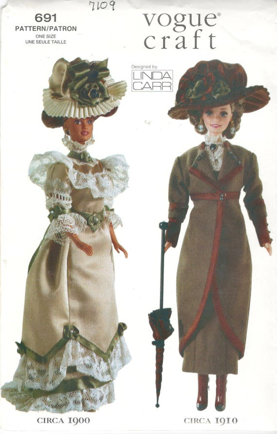 Mode 7109 691 Linda Carr Fashion Puppe Kleidung Muster Barbie Doll historische 1900 1910 Outfits 11 12 Zoll Puppe Kleidung Schnittmuster UNCT
