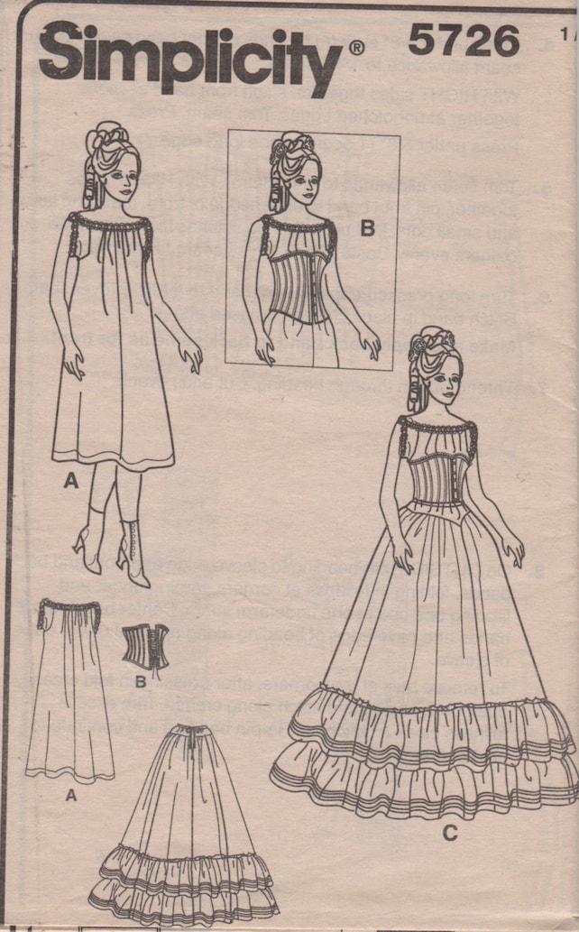 Einfachheit 5726 Misses historische Korsett Chemise Petticoat | Etsy