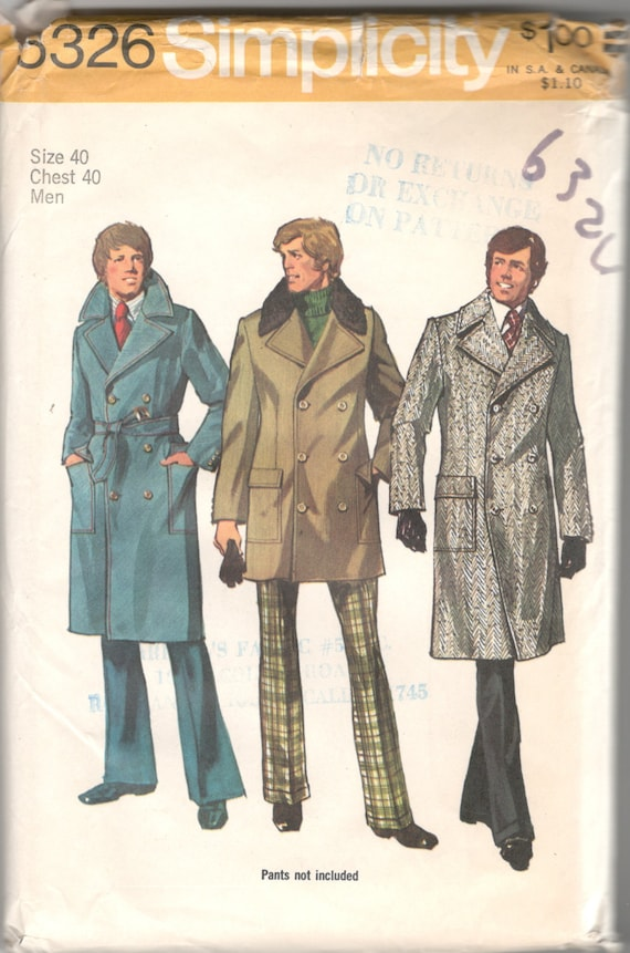 Simplicity 40 40s Mens Double Breasted Trench Coat Pattern Etsy Amazing Coat Pattern