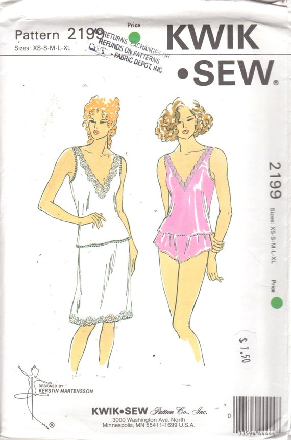 269cebef22 Kwik Sew 2199 1990s Misses V Neck Camisole Half Slip and