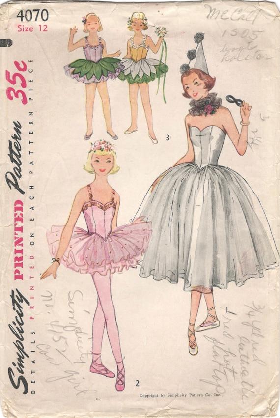 Einfachheit 4070 1950s Mädchen Ballerina Kostüm Kleid Höschen | Etsy