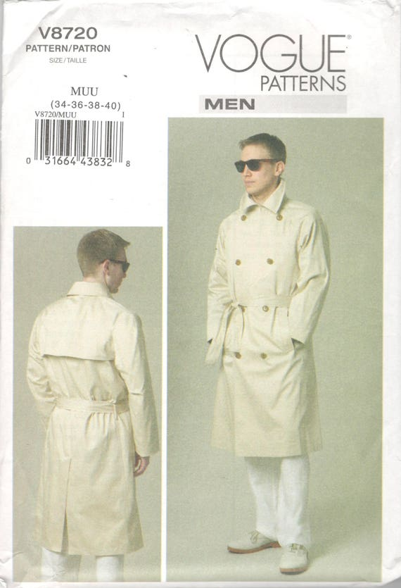 Vogue 40 Mens Coat And Belt Pattern Trench Coat Pattern Etsy New Mens Trench Coat Pattern
