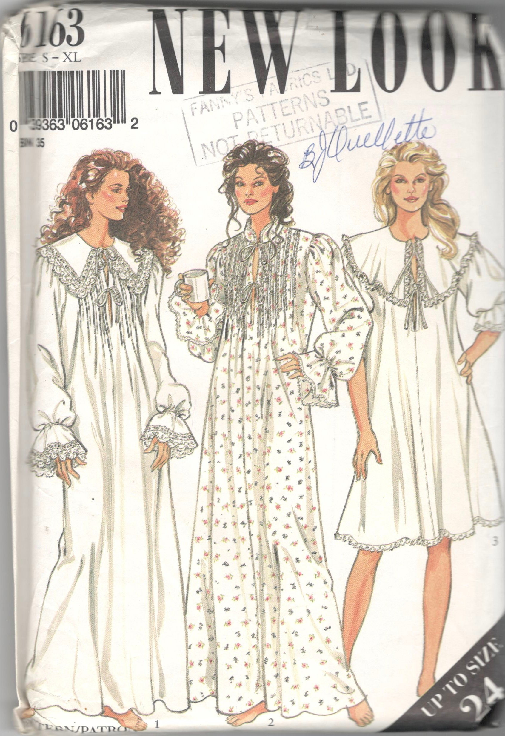 New Look 6163 Misses Victorian Style Nightgown Sewing Pattern | Etsy