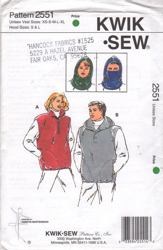 Kwik Sew 2551 Unisex Fleece Pullover Vests and Hood Pattern | Etsy