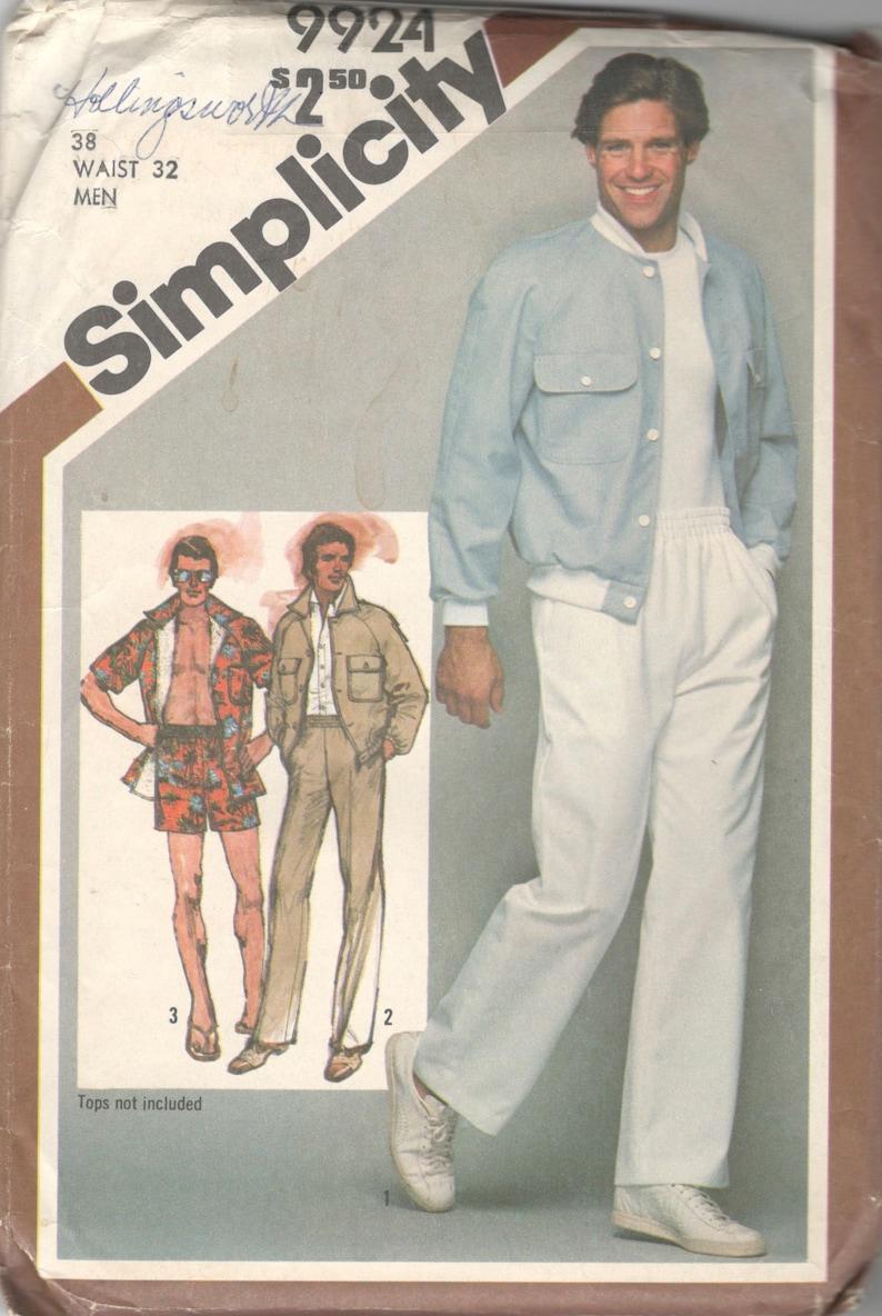 7377a8f93f87e Simplicity 9924 1980s Mens Jacket Pants and Shorts Pattern | Etsy