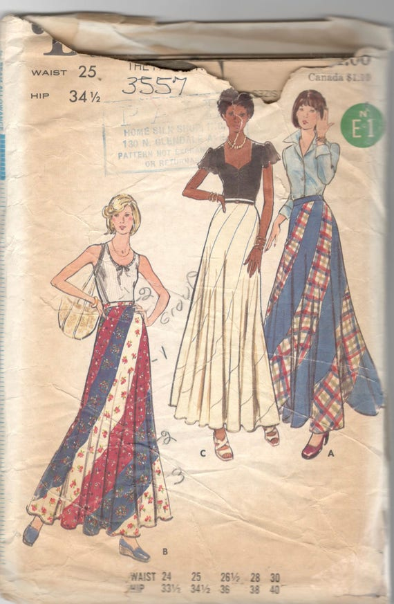 Butterick 3557 1970s Misses Wirbel Rock Muster Maxi | Etsy