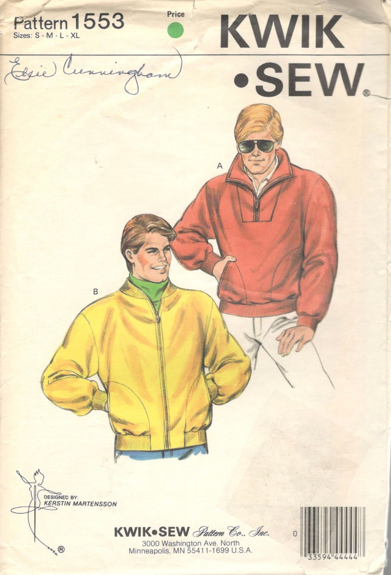 c22fa8240f Kwik Sew 1553 1980s Mens Zip Front or Pullover Jacket Pattern Ribbed Cuffs  Adult Vintage Sewing Pattern Size SM M Lg XL Chest 34 - 48 Uncut
