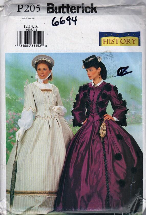 Butterick 6694 P205 verfehlt Bürgerkrieg Kostüm Muster machen