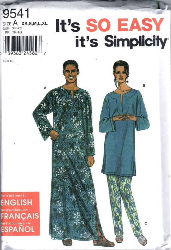 Simplicity 9541 Easy Misses Mens Teen Caftan and Top Tunic | Etsy
