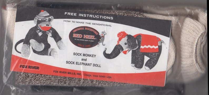 Original Rockford Red Heel Socks TWO PaIR Size Large Size 10 11 NIP 97%  Cotton Great for Sock Toys Monkey and Elephant Sewing Pattern