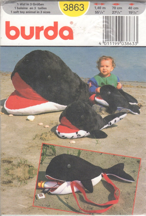 Burda-3863 gefüllte Orca-Wal-Muster 15 27 und 55 Zoll lang | Etsy