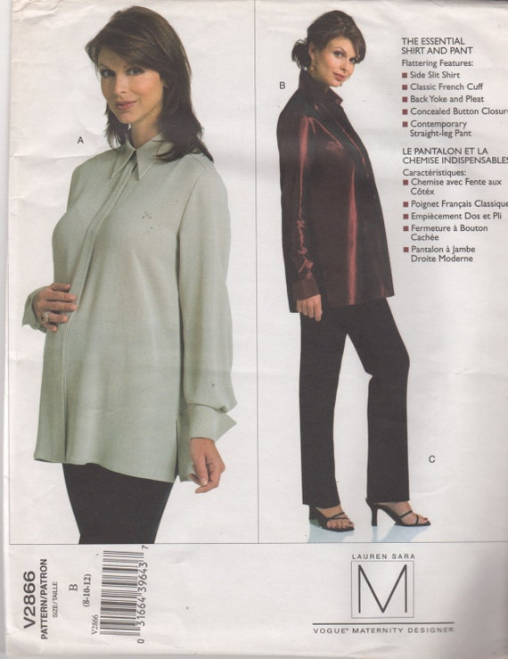 Vogue 2866 Misses Designer Maternity Pants and Shirt Pattern | Etsy