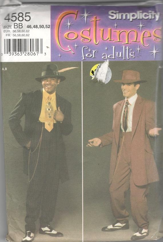 Einfachheit 4585 Herren Kostüm Muster Zoot Suit Gangster Swing | Etsy