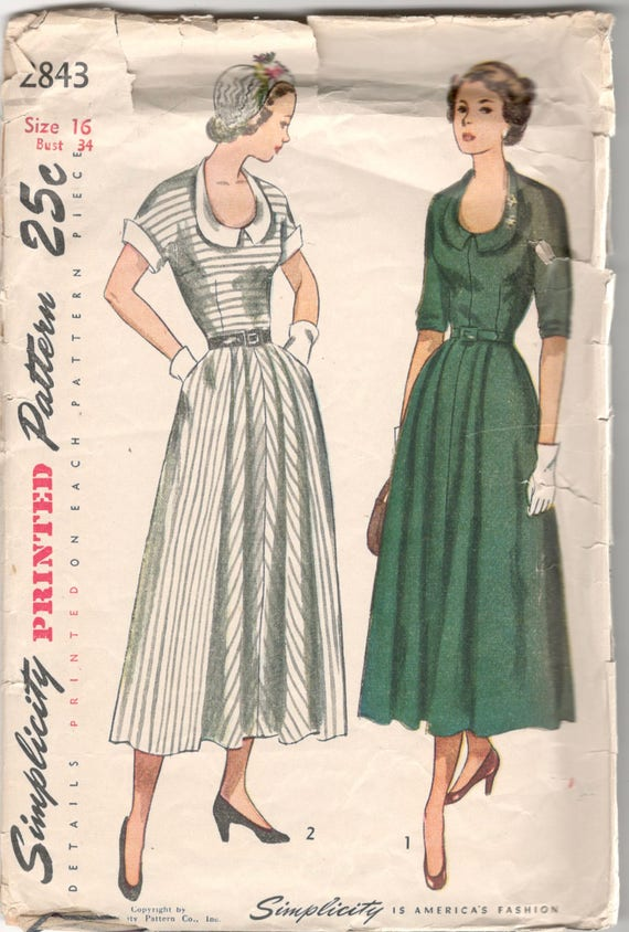 66dac4bd4b0 1940s Simplicity 2843 Misses U Neck DRESS Pattern Flared Skirt Detachable  Collar Cuffs Womens Vintage Sewing Pattern Size 16 Bust 34