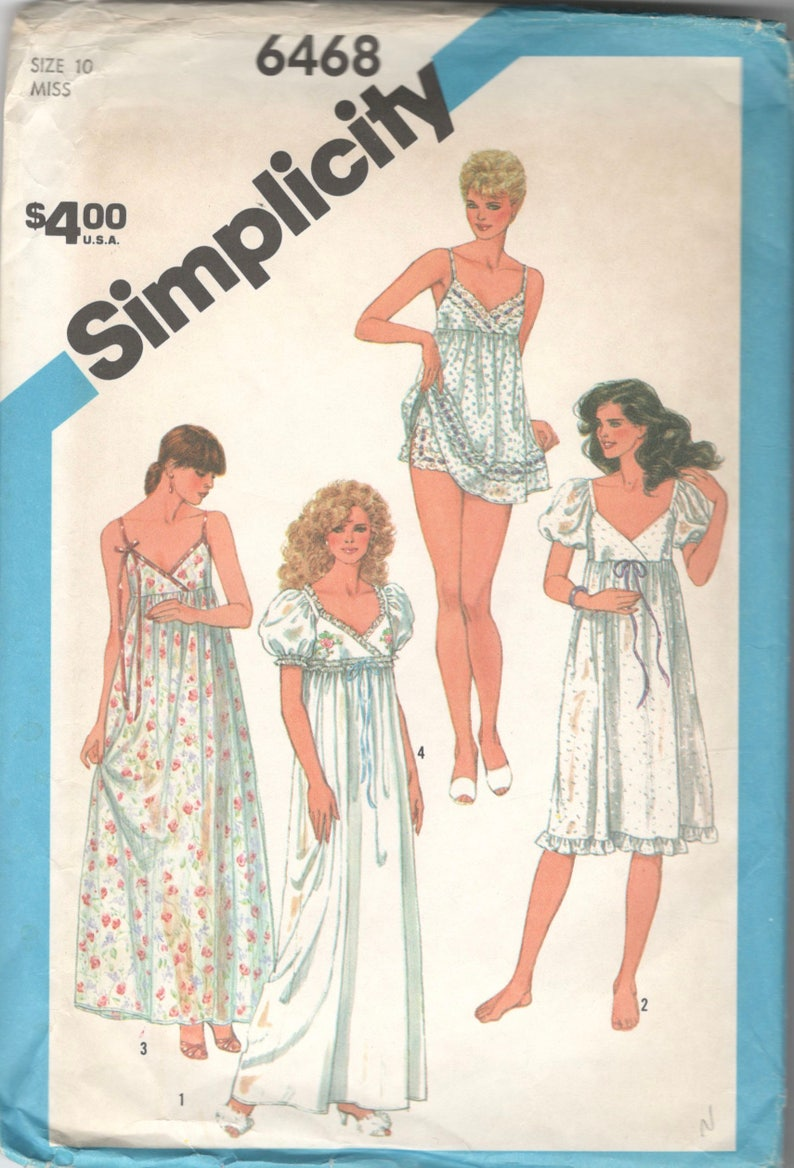 8894ceae91 1980s Simplicity 6468 Misses Empire Waist Nightgown and Baby