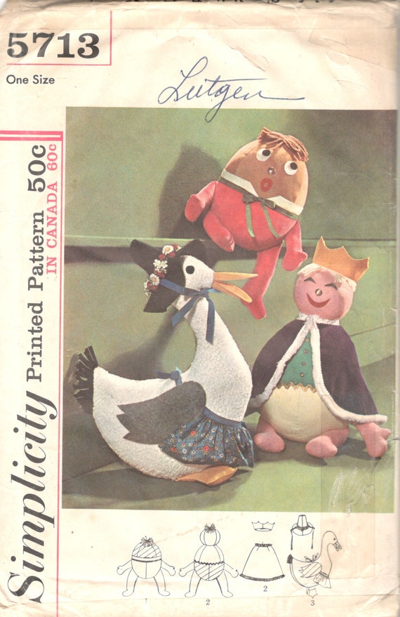 Simplicity 5713 Humpty Dumpty Mother Goose Nat King Cole Pattern ...