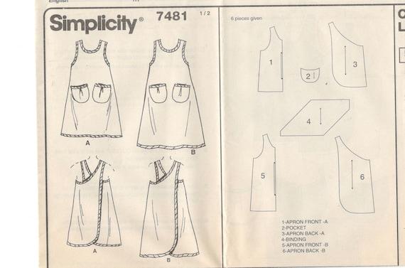 Einfachheit 7481 Misses Wrap-Around-Schürze Muster Criss Cross   Etsy
