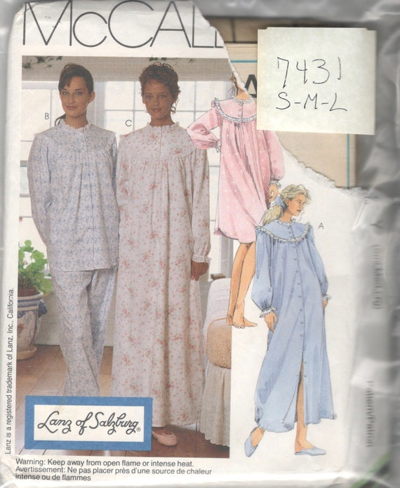 McCalls 7431 Misses Robe Pajamas Nightgown Pattern Lanz  6f476f918