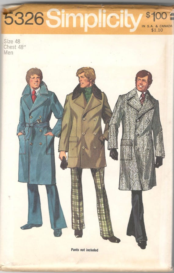 Simplicity 40 40s Mens Double Breasted Trench Coat Pattern Etsy Impressive Mens Trench Coat Pattern