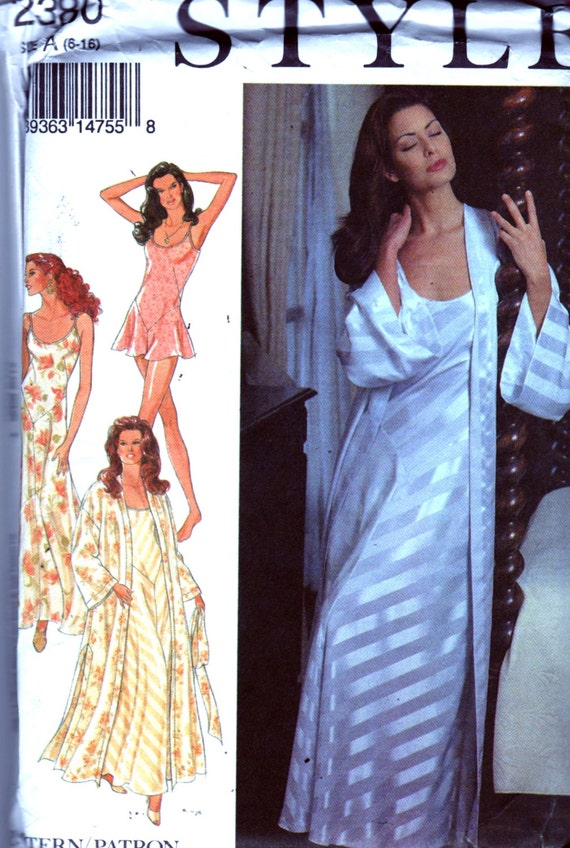 Style 2380 Misses Lingerie Nightgown Kimono Robe And Teddy Etsy
