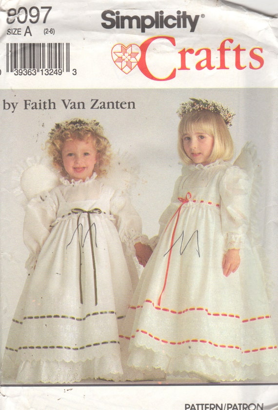 Simplicity 8097 Girls Angel Costume Pattern Dress Pinafore | Etsy