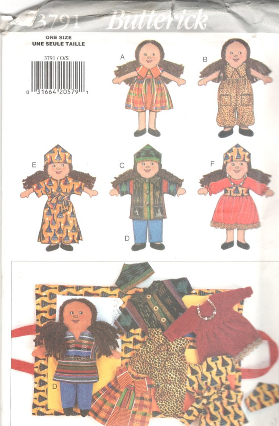 Butterick 3791 African Doll and Doll Clothes and Doll Carrier | Etsy
