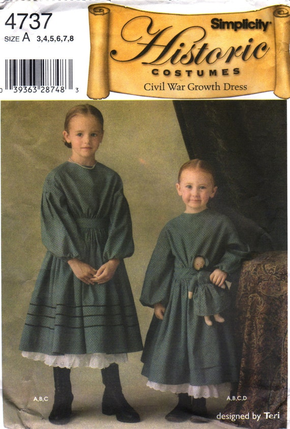 Simplicity 4737 Girls Civil War Growth Dress Costume And Doll Etsy