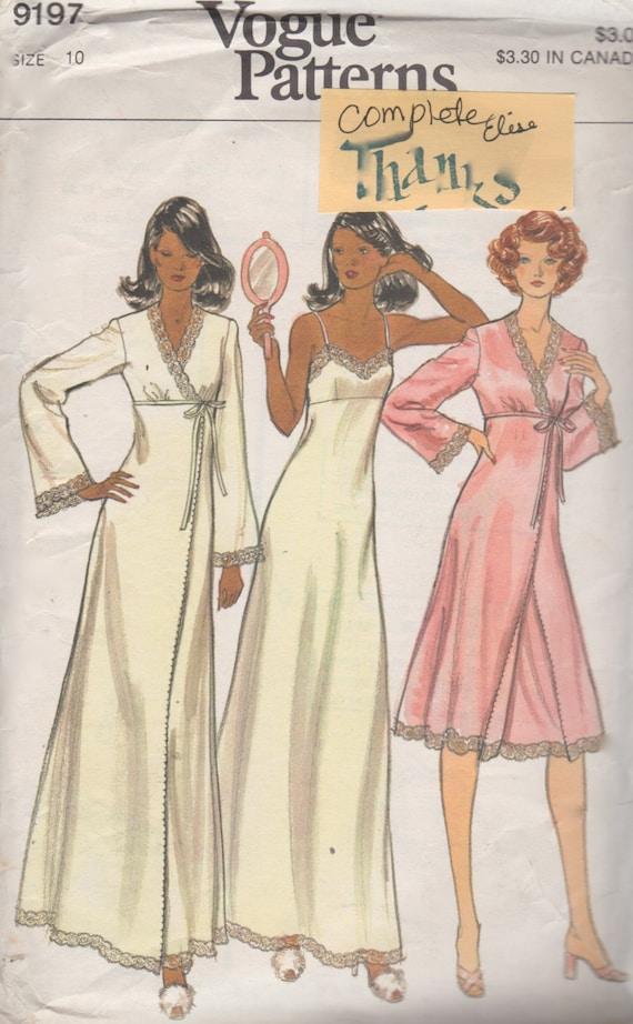 c2d7af517d 1970s Vogue 9197 Misses Lingerie Pattern Lacy Nightgown and