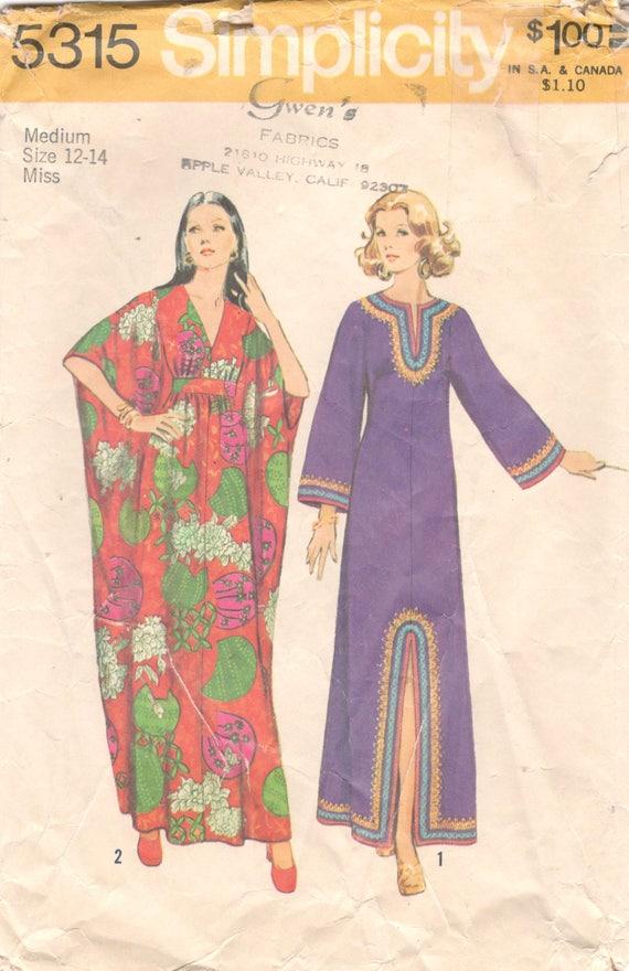 Einfachheit 5315 1970s verfehlt Kaftan Muster Kimono Ärmel | Etsy
