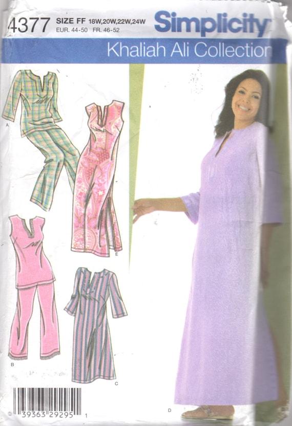 Simplicidad 4377 mujeres camisón longitudes 2 pijamas patrón talla grande  patrón tamaño 18 20 22 24 busto 40-46 de coser sin cortar